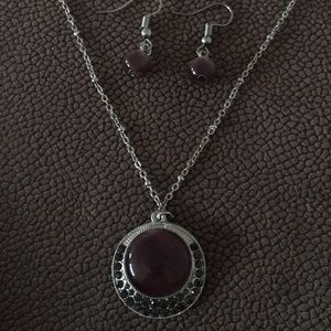 Purple moonstone set earrings and necklace